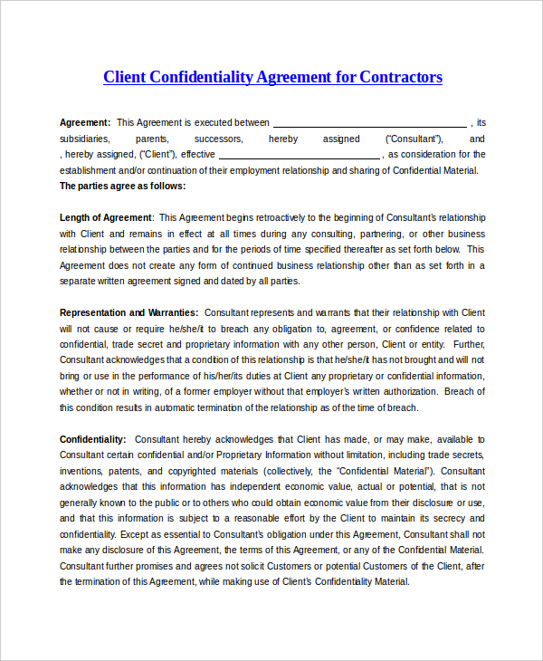 The Sample Client Confidentiality Agreement For Contractor Can