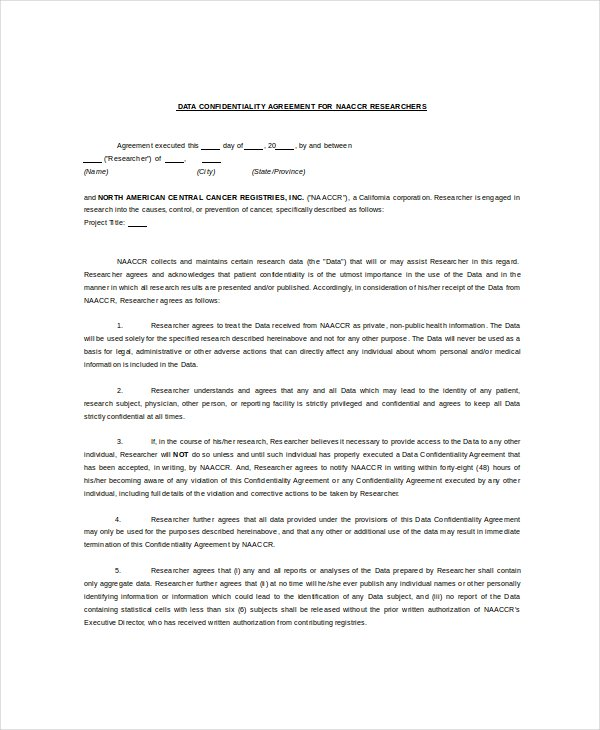 Download Sample Data Confidentiality Agreement For Free  Tidyform