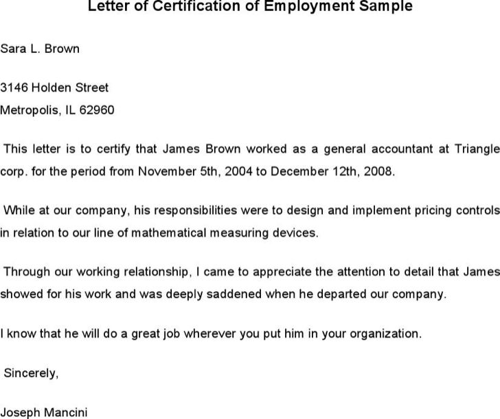 Sample employment certificate from employer fieldstation sample employment certificate from employer yelopaper Choice Image