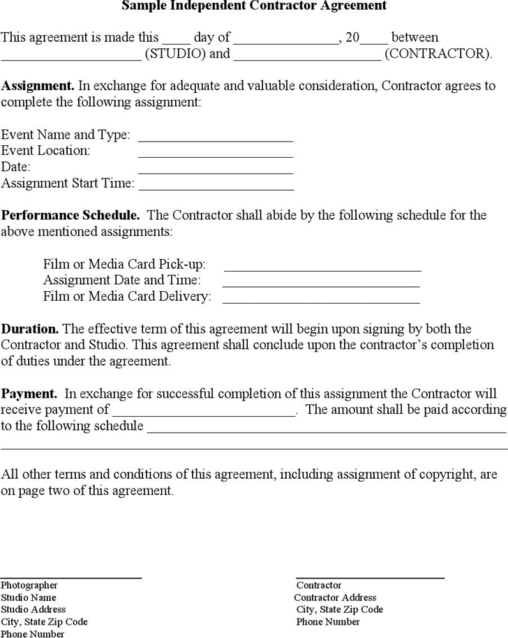 download sample independent contractor agreement 1 for free tidyform