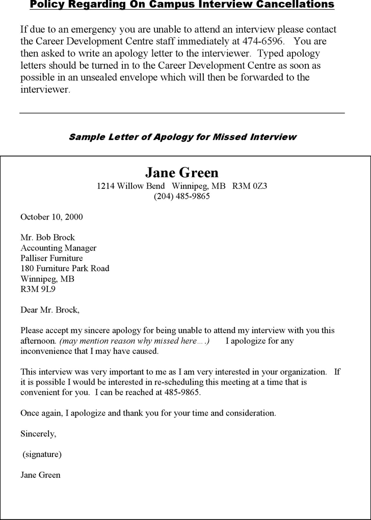 The Sample Letter of Apology for Missed Interview 1 can help you – Sample Apology Letter to Teacher