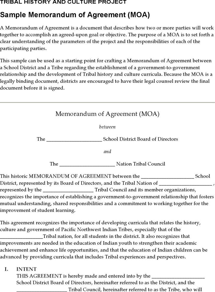 The Sample Memorandum of Agreement can help you make a – Sample Memorandum of Agreement