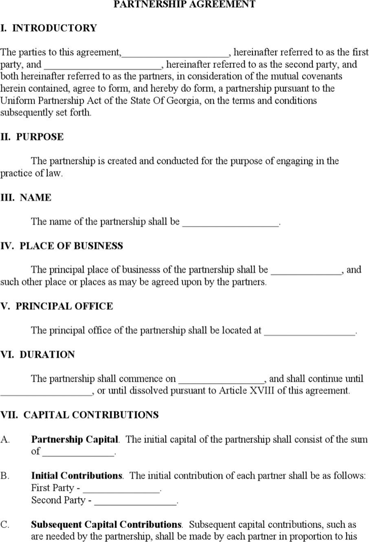 Doc460595 Partnership Agreement Contract Partnership – Business Partnership Contract