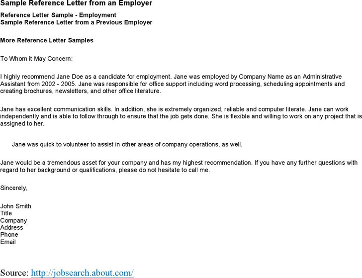 Job application reference letter template – Template for Reference Letter from Employer