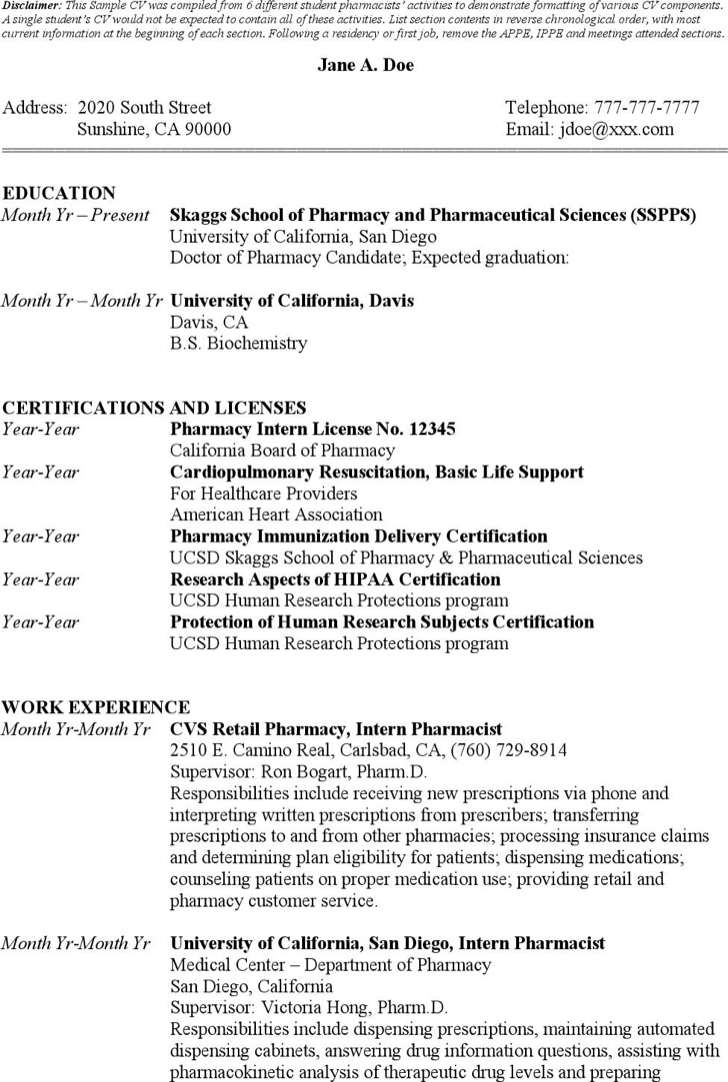 The Sample Student Pharmacist Resume Templates can help you make a – Resume Templates for Students in University