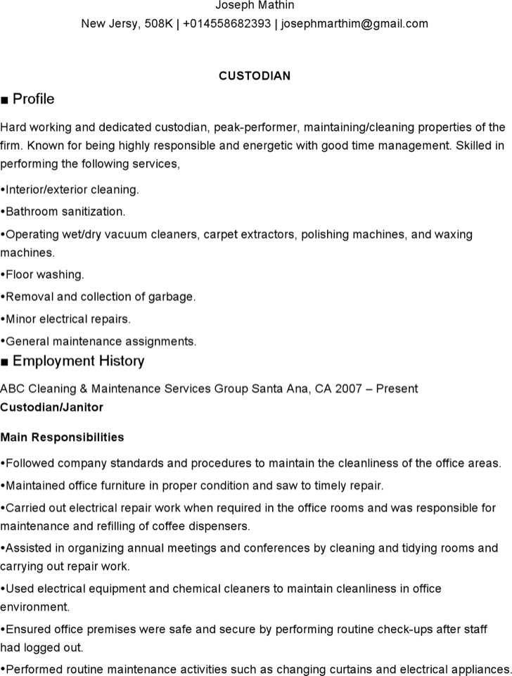 school custodian resume - School Custodian Resume