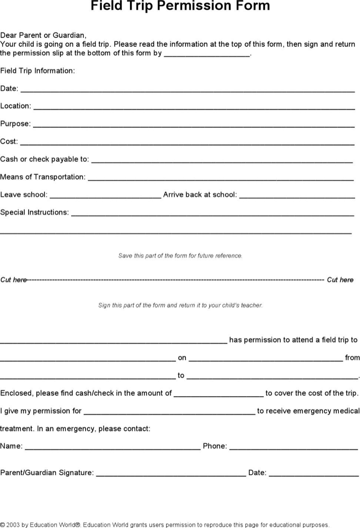 The School Field Trip Permission Slip Template Download Word Doc – Permission Slip Template