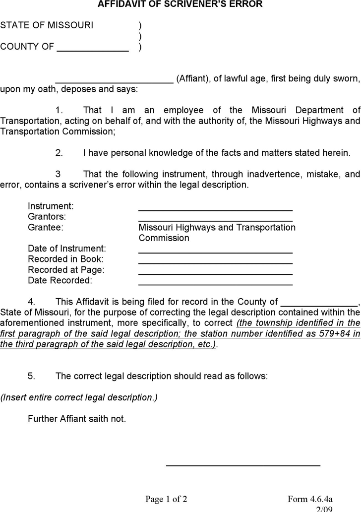 Download Scrivener's Error Affidavit for Free - TidyForm