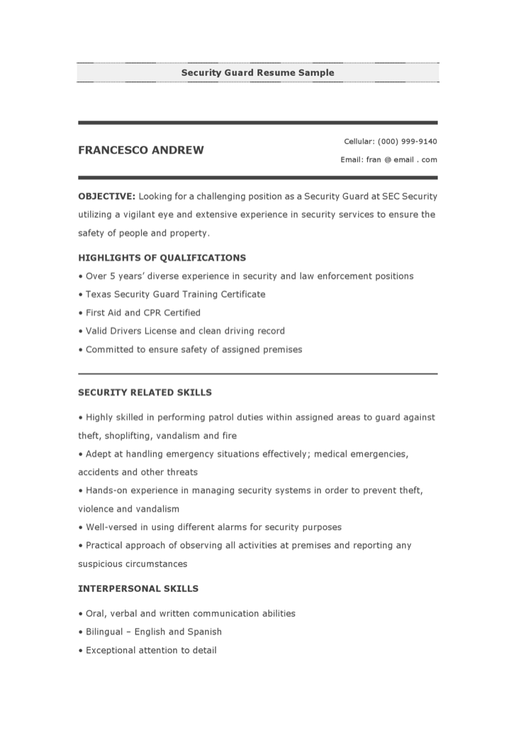 download security guard resume sample for free - Security Guard Resume Sample