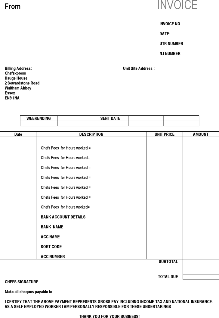 download invoice template hours worked | rabitah, Invoice examples
