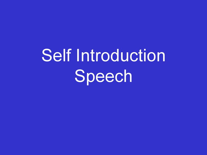 Self Introduction Speech