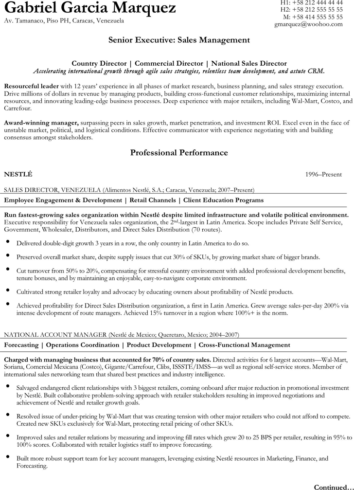 senior executive resume sample 1