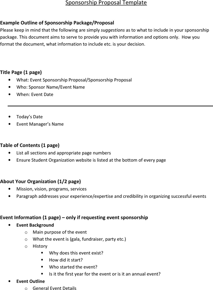 The Sponsorship Proposal Template can help you make a professional – Event Proposal Format
