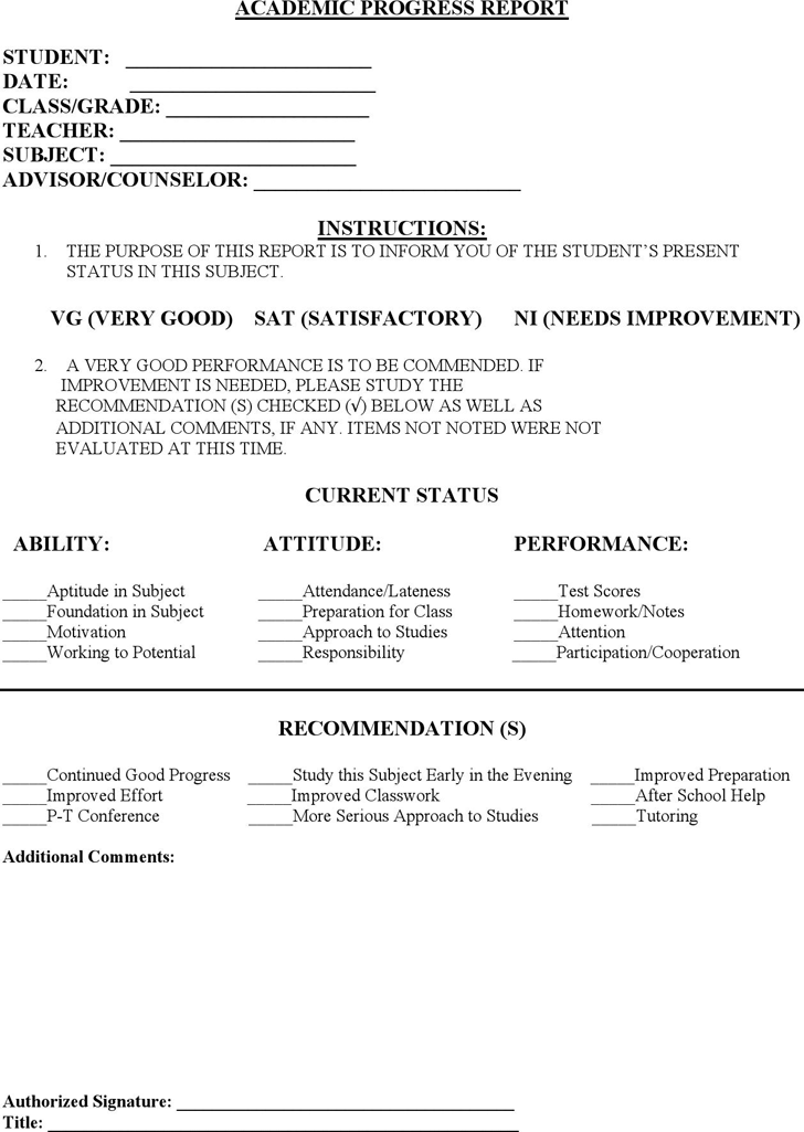 Student Progress Report Template  Progress Report Template For Students