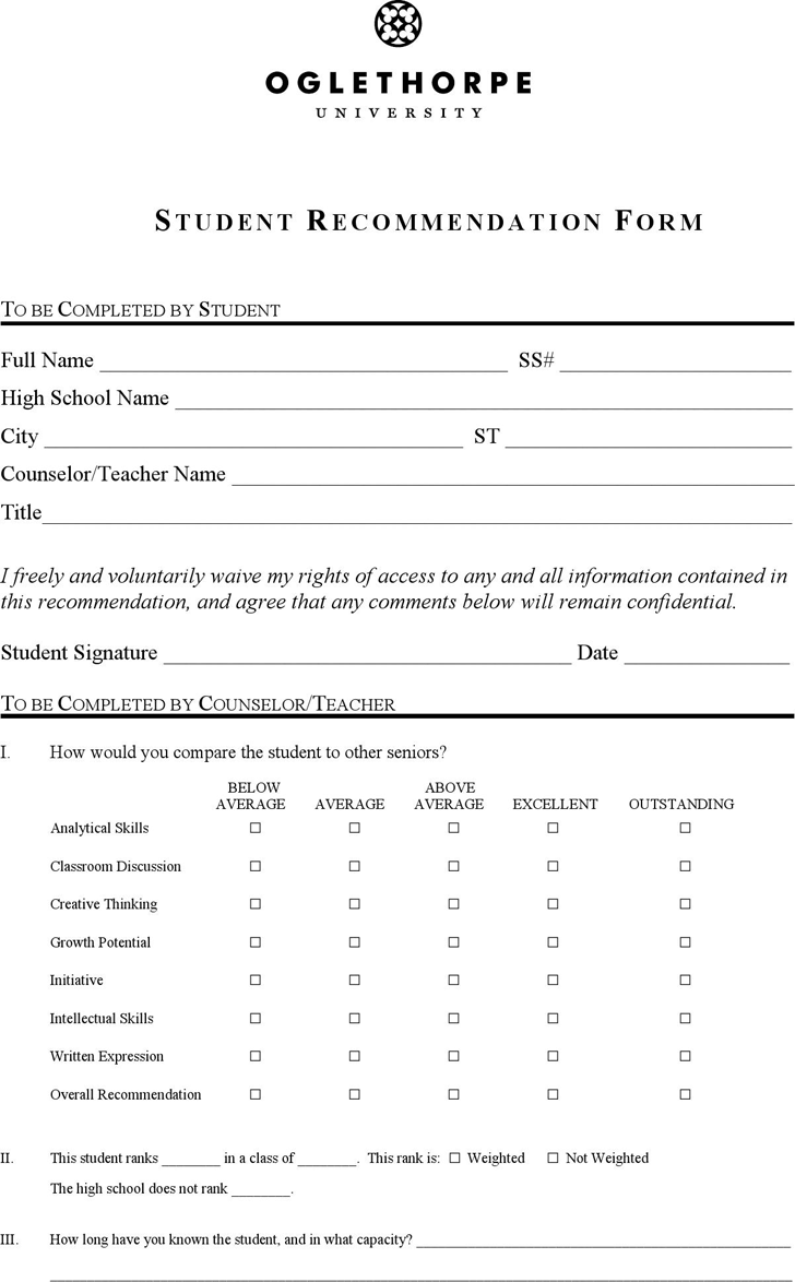 Download Student Recommendation Form for Free - TidyForm