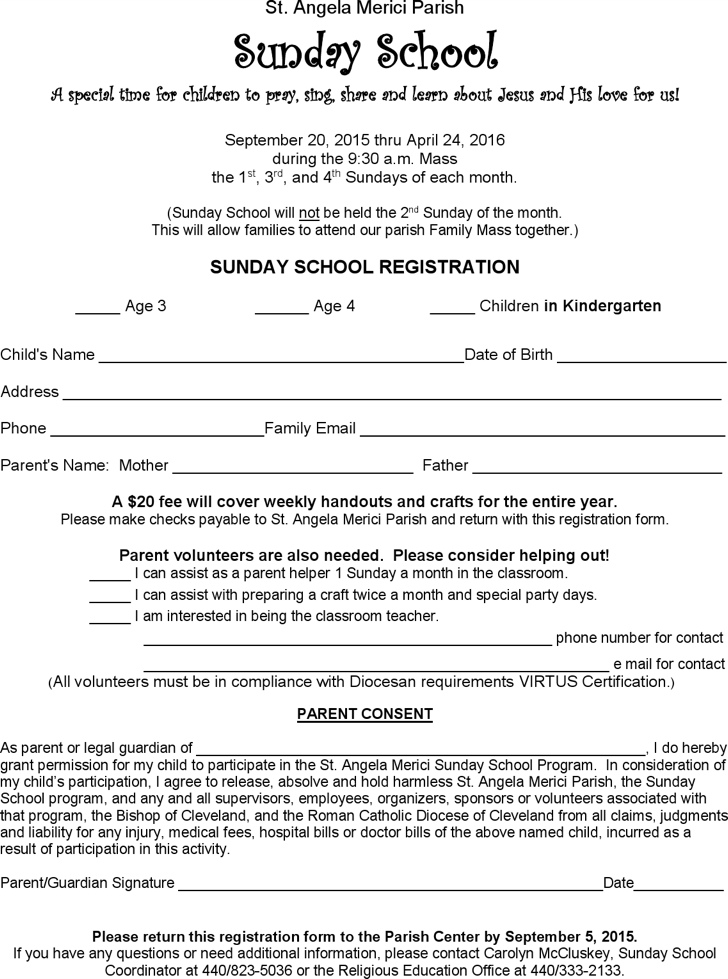 sunday school registration form template Parlobuenacocinaco