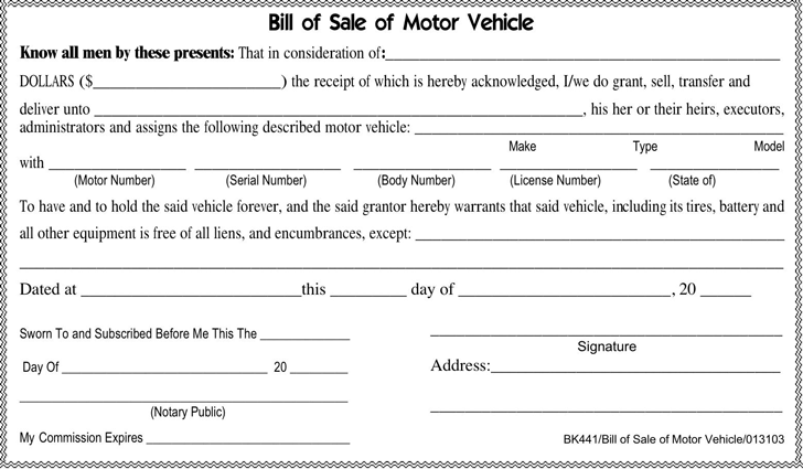 The Tennessee Motor Vehicle Bill of Sale Form can help you make a – Bill of Sales Forms