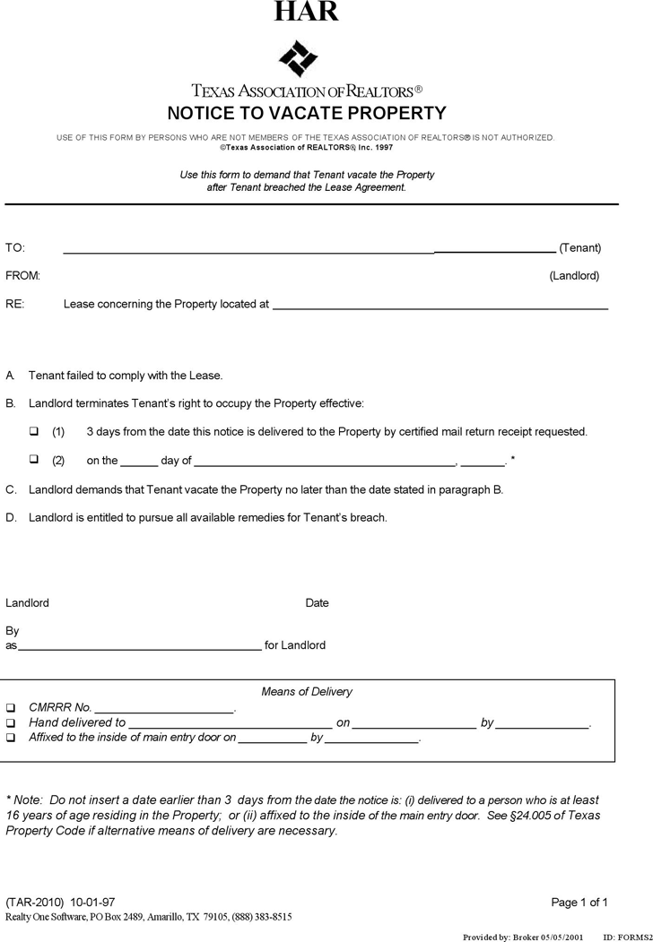 The Texas Eviction Notice Template can help you make a – Eviction Form Template