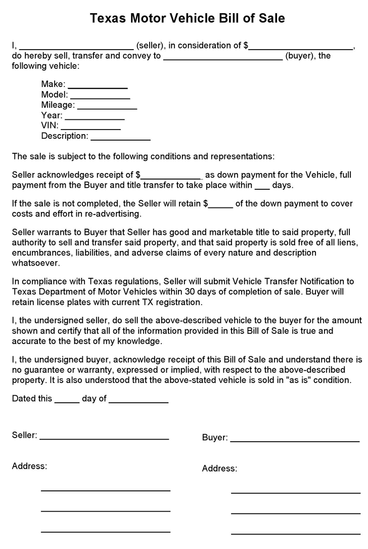 The Texas Motor Vehicle Bill of Sale Form can help you make a – Bill of Sale for Car
