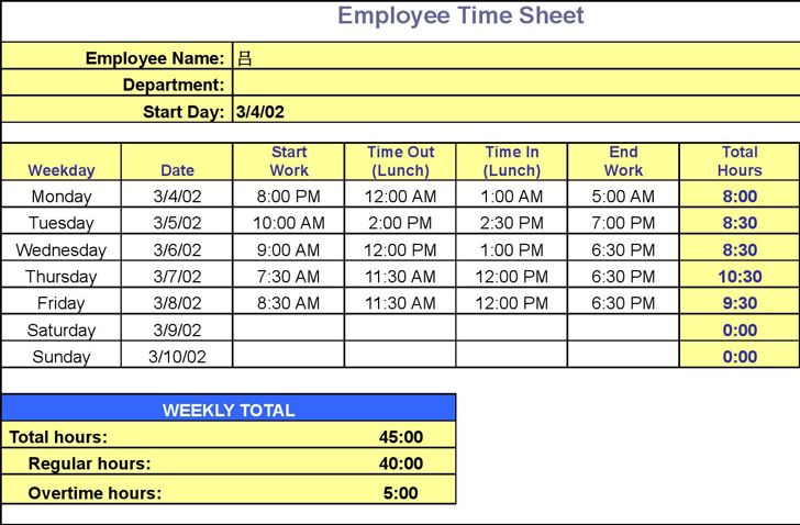 Timesheet Calculator Spreadsheet