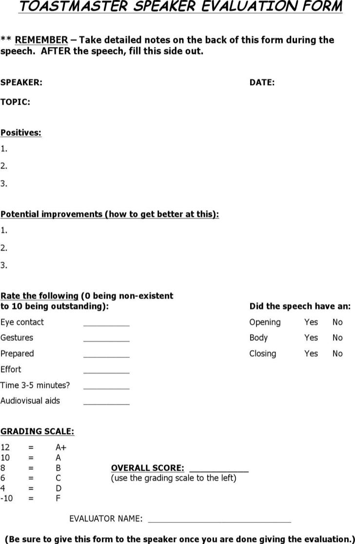 The Toastmaster Evaluation Speaker Form Template Word Doc can help – Speaker Evaluation Form