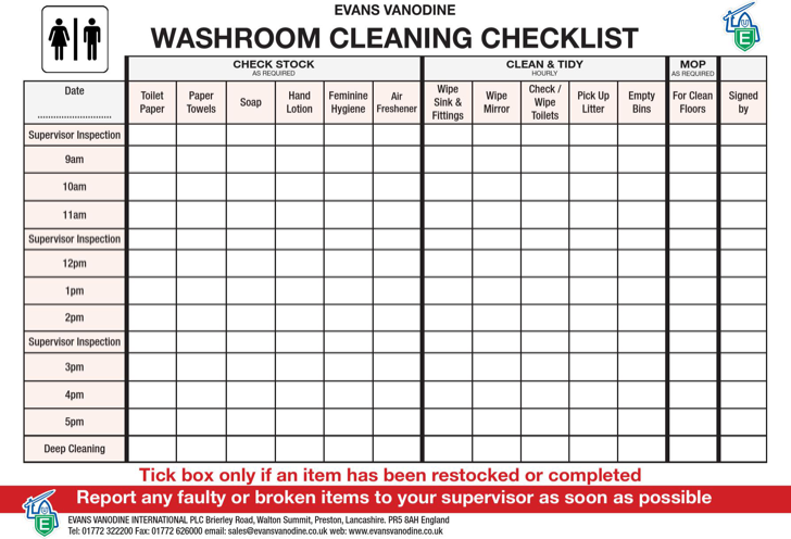 restroom cleaning checklist