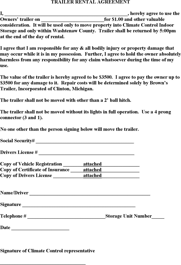 The Trailer Rental Agreement Template in PDF Word Excel format – Booth Rental Agreement