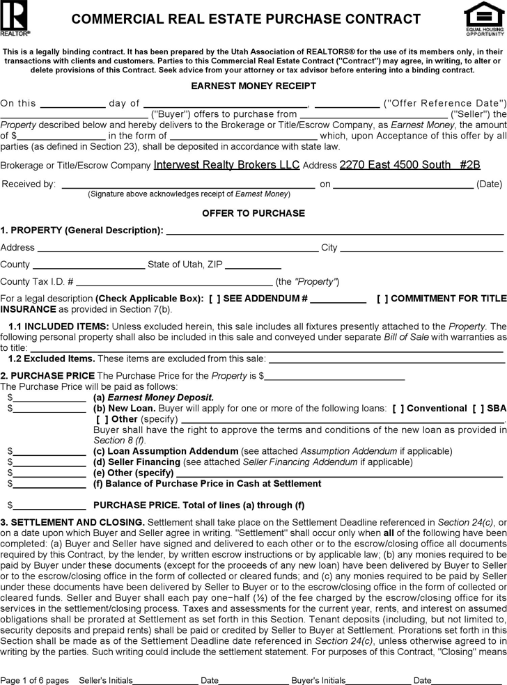 The Utah Commercial Real Estate Purchase Contract Form can help – Sample Real Estate Purchase Agreement Template