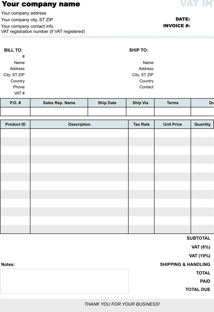 Vat Invoice Template Xls Hardhostinfo - Make your own invoice template free
