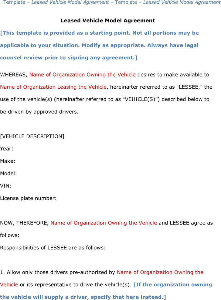 The Vehicle Lease Agreement Templates in PDF Word Excel format – Basic Rental Agreement Letter Template