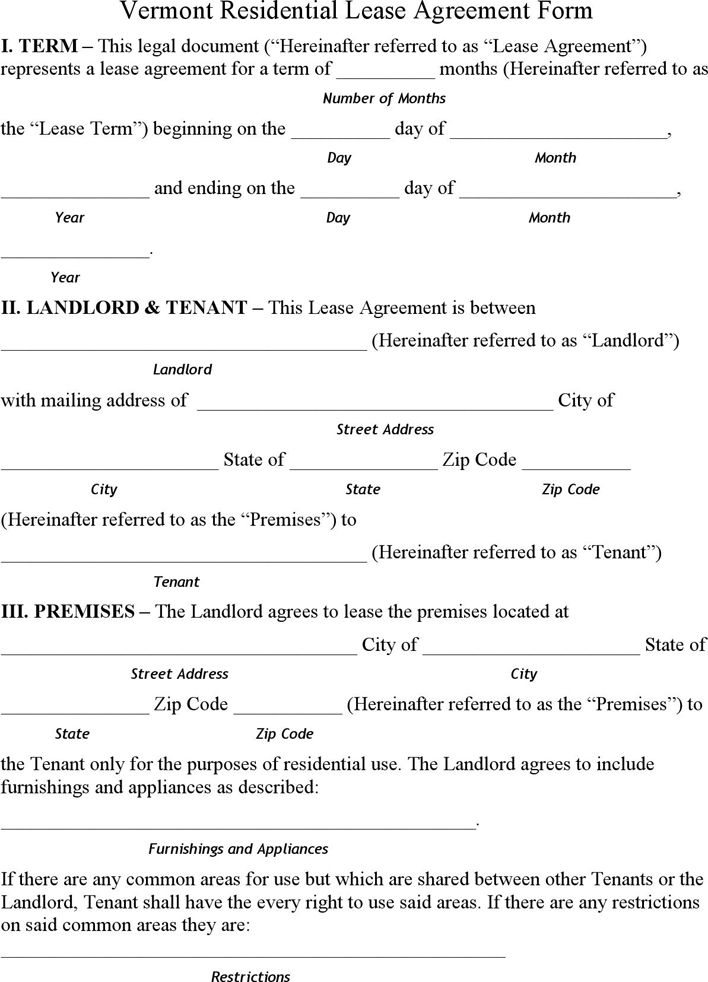 The Vermont Residential Lease Agreement Form can help you make a – Lease Agreement Form