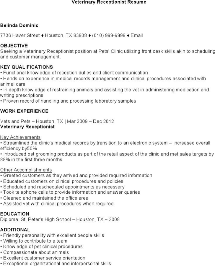 Veterinary Receptionist Resume Download Veterinary Receptionist Resume For Free  Tidyform