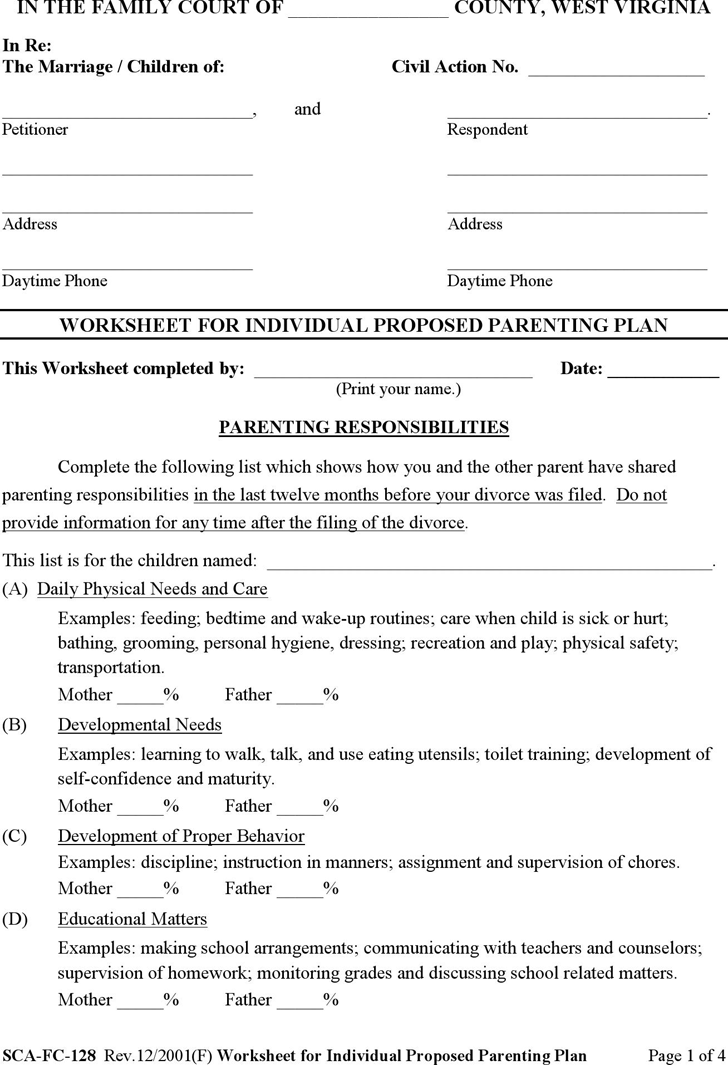 Printables Parenting Plan Worksheet free west virginia worksheet for individual proposed parenting plan