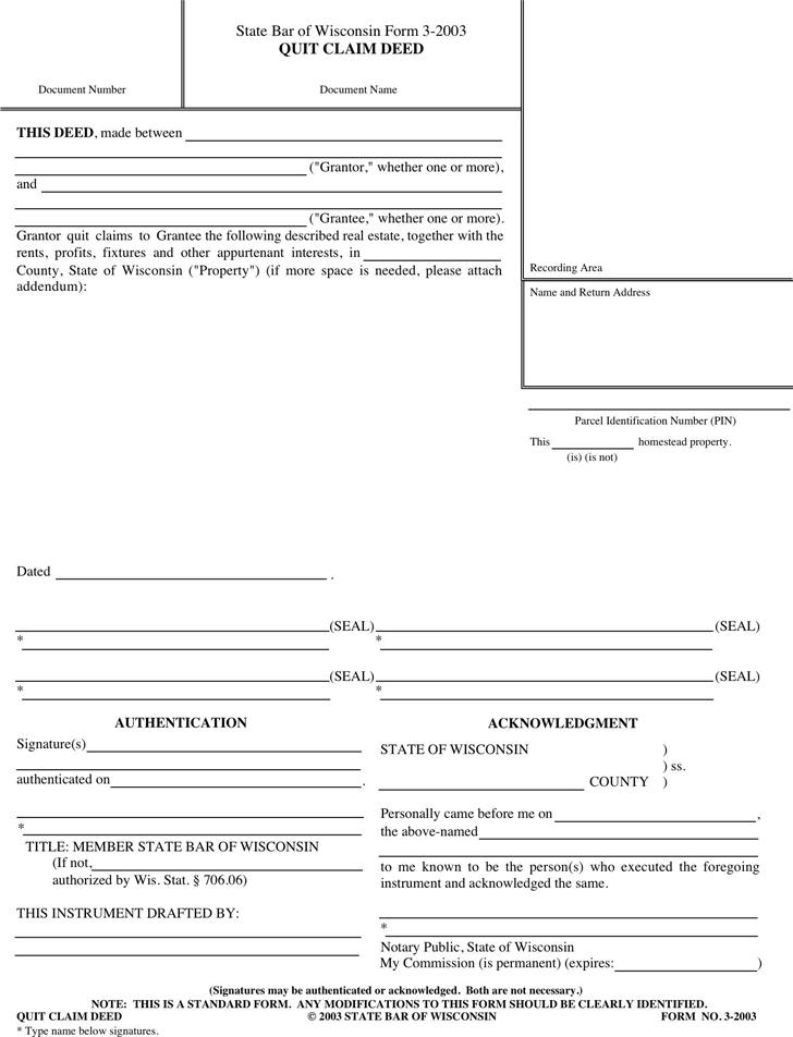 Download Wisconsin Quitclaim Deed Form 1 for Free - TidyForm