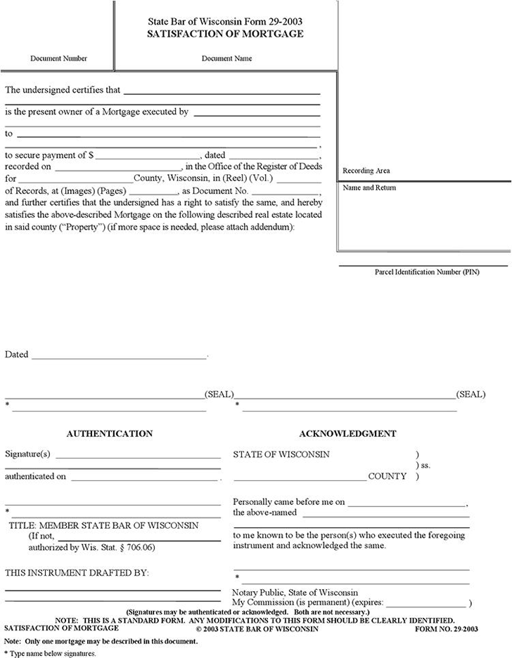 Satisfaction of Mortgage Form Download for Free