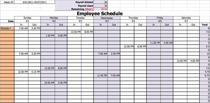 volunteer schedule template excel