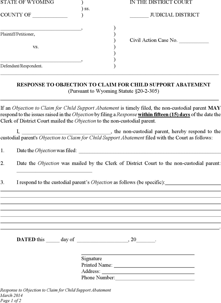 Download Wyoming Response to Objection to Claim for Child Support ...