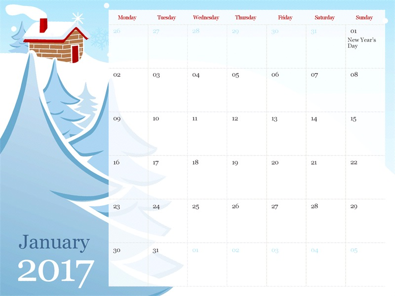 2017 illustrated seasonal calendar (Mon-Sun)