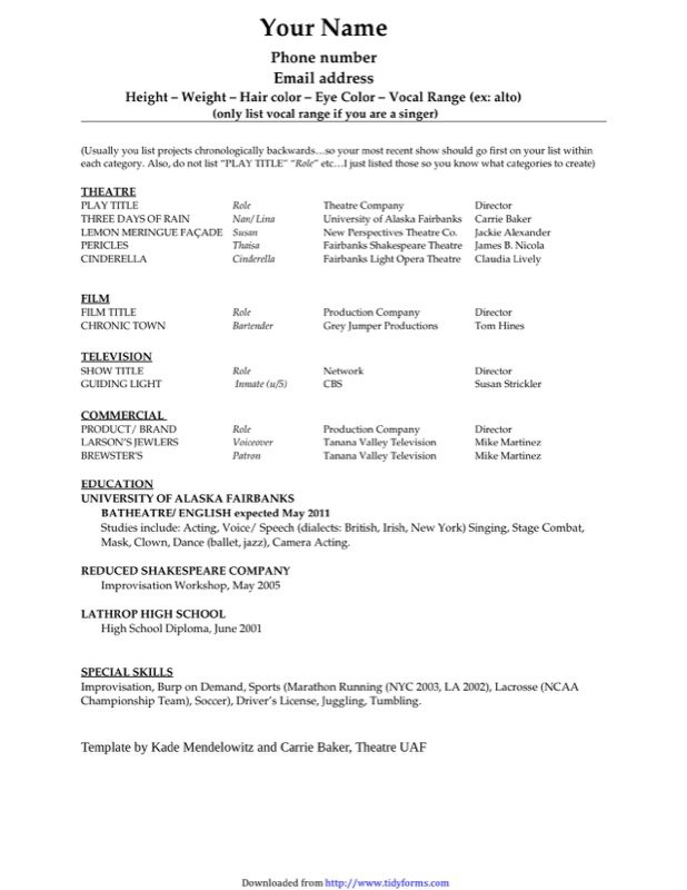 Acting Resume Template  Free Resume Template Download Pdf