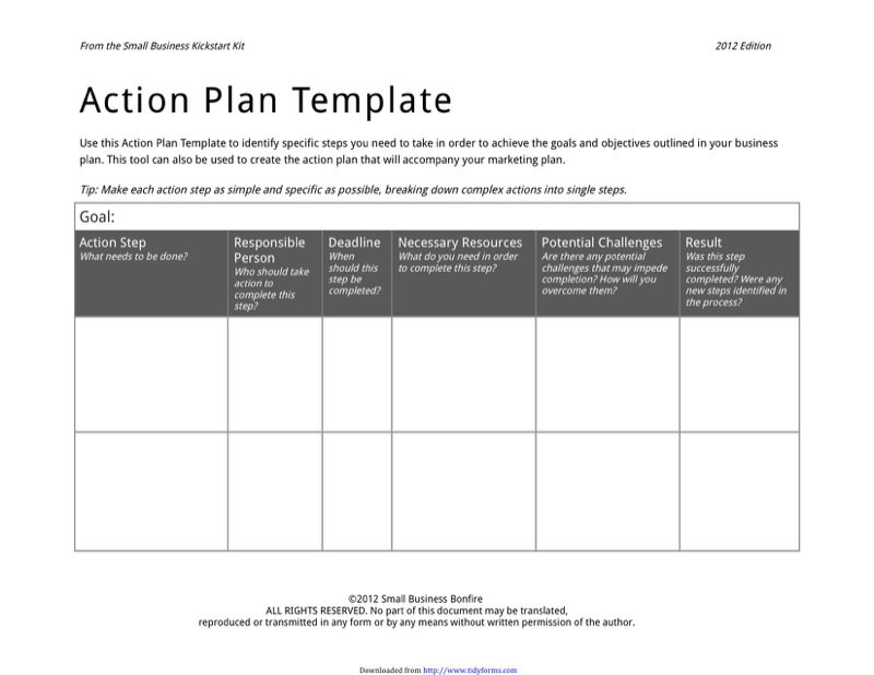 Superior Action Plan Form  Action Plan Template Free