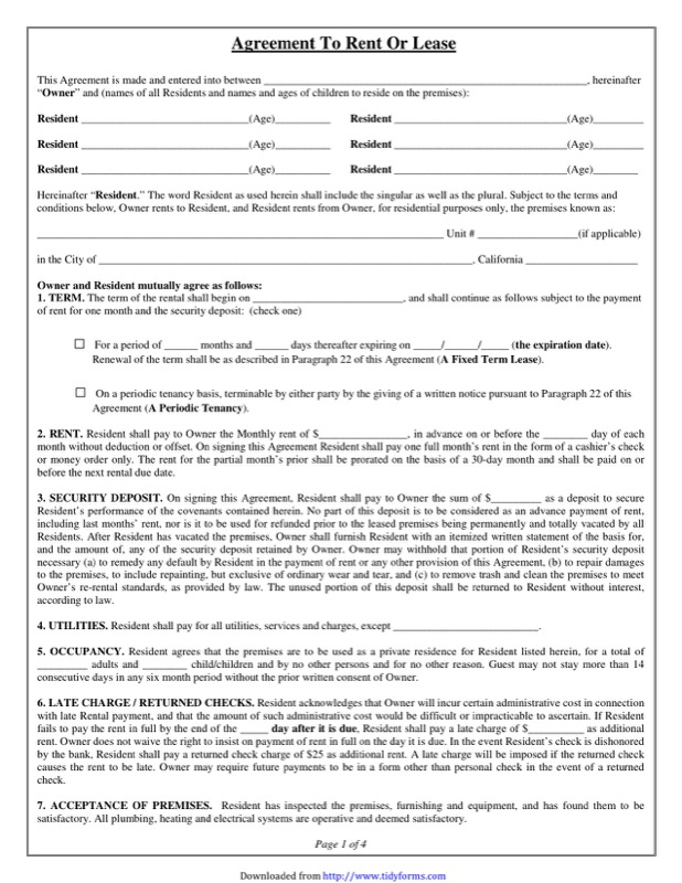 Residential Lease Agreement Templates  Free Templates In Doc Ppt