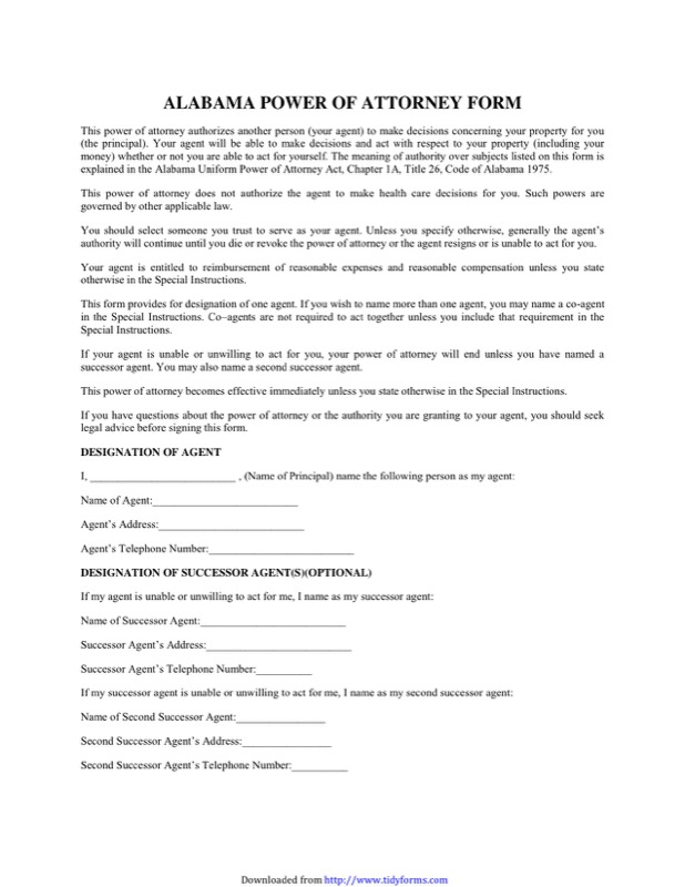 Alabama Power Of Attorney Form  Free Templates In Doc Ppt Pdf  Xls