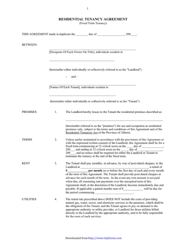 Alberta Residential Tenancy Agreement Form  Landlord Agreement Template