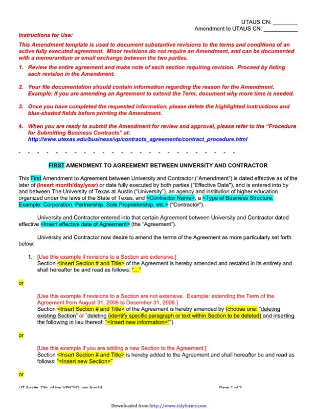 Contract Amendment Template  Free Templates In Doc Ppt Pdf  Xls