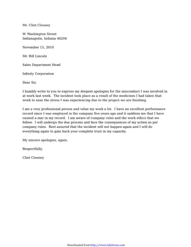 Sample Letter Of Apology For Misconduct  Example Of Apology Letter To Customer
