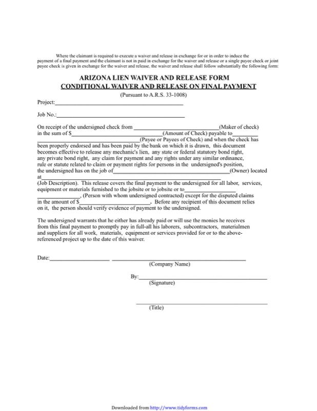 Arizona Lien Release Form  Free Templates In Doc Ppt Pdf  Xls