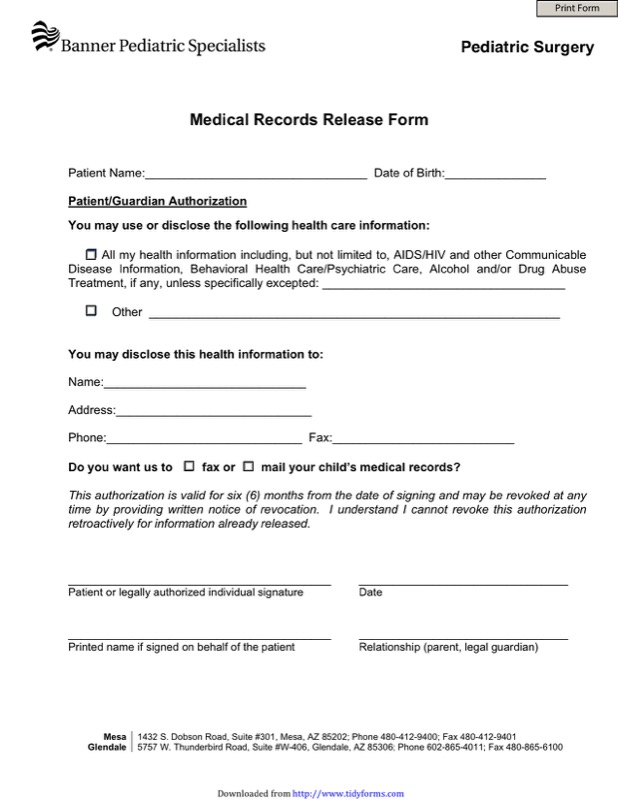 Arizona Medical Records Release Form 1  Medical Record Release Form Template