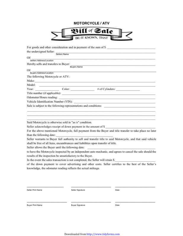 ATV Bill Of Sale 2  Bill Of Sale Template Doc