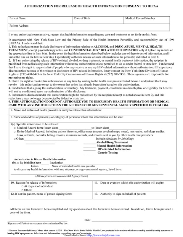 Hipaa Release Form Templates  Free Templates In Doc Ppt Pdf  Xls
