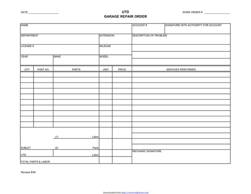 Auto Repair Receipt  Auto Shop Invoice Template